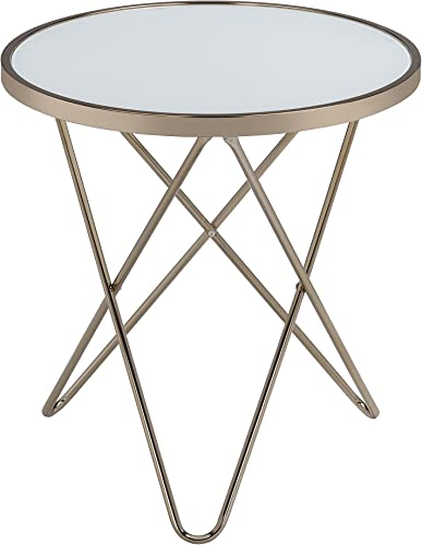 Acme Valora End Table, Frosted Glass Champagne