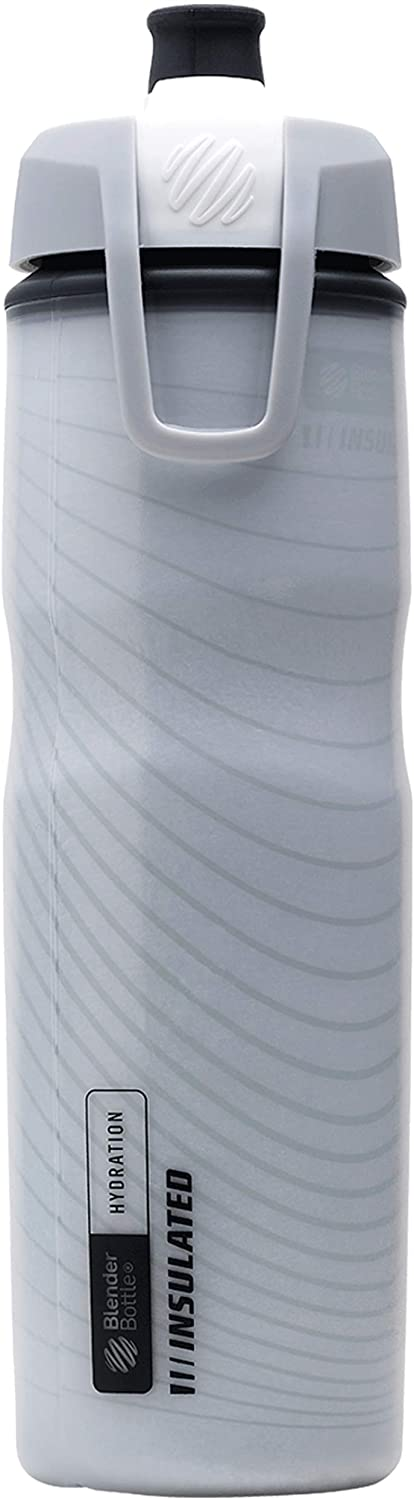 BlenderBottle Hydration Halex Insulated Squeeze Water Bottle with Straw, 24-Ounce, White