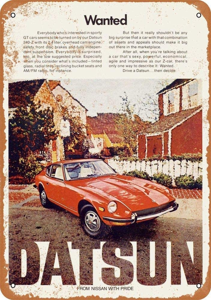 A Homim 1972 Datsun 240-Z Vintage Look 8 X 12 Inch Aluminum Metal Signs