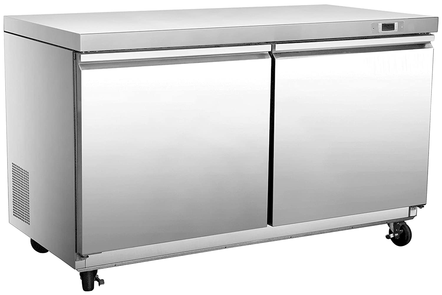 """Chef's Exclusive CE343 Two 2 Double Solid Door Commercial Heavy Duty Stainless Steel Undercounter Refrigerator Cooler 11.1 Cubic Feet with Environmentally Friendly Refrigerant, 48"""" Wide, Silver"""