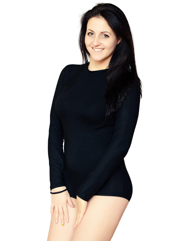 0aa49aab94bc4d KIA Intim Ladies Quality Leotard Bodysuit Long Sleeve High Neck Stretch  Cotton Womens Body Top: Amazon.co.uk: Clothing