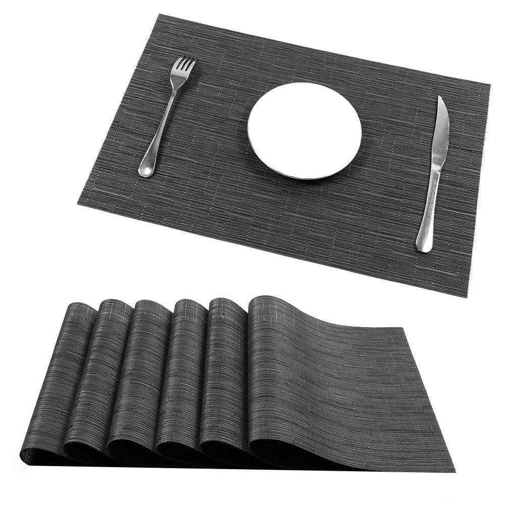 U'Artlines Placemats, Heat-Resistant Placemats Stain Resistant Anti-Skid Washable PVC Table Mats Woven Vinyl Placemats, Set of 6 (6pcs placemats, B Black)