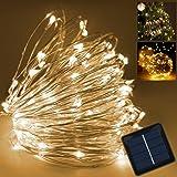 TurnRaise 12M 100 Lucine LED, IP65 Impermeabile Led Filo di Rame, Bianco Caldo Stelle Luci con 2 Modalità Luminosità, Catena Leggera Decorazione per il Natale o La Festa di Nozze ecc. (12M-100LED)