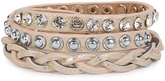 styleBREAKER wrap bracelet with rhinestone, different rivets and stars, bracelet, ladies 05040029