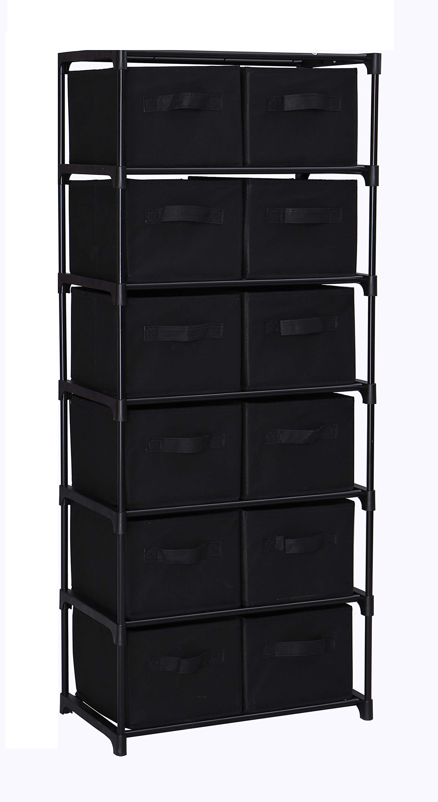 Home-Like 12-Drawer Chest Fabric Dresser Chest of Drawers 6 Tier Storage Organizer Tower Storage Unit Metal Shelf with 12 Removable Fabric Bins Ideal for Home Office Dorm Bedroom Nursery (Black)