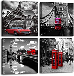 Canvas Prints Wall Art Home Wall Decor Black and White Cityscape London Paris Buildings Street Red Bus Telephone Booth Classic Cars Pictures Modern Artwork for Bedroom Bathroom Living Room Decor