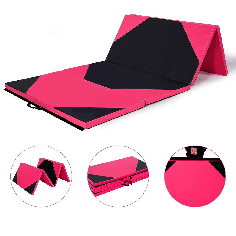 Homevibes 4フィート x 8フィート x 2インチ 体操マット 厚い 折りたたみパネル タンブリングマット ジム エクササイズ エアロビクスマット ハンドル付き ヨガ ストレッチ用 チアランディング 格闘技 B07K1SBG8S Pink&Black A