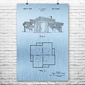 Patent Earth Frank Lloyd Wright House Poster Print, Architecture Art, House Blueprint, Home Builder Gift, Structural Engineer