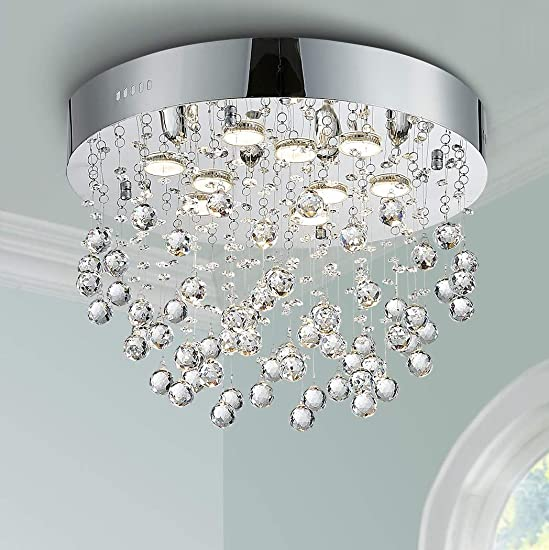 Bestier Modern Chrome Crystal Flush Mount Chandelier Lighting LED Ceiling Light Fixture Lamp