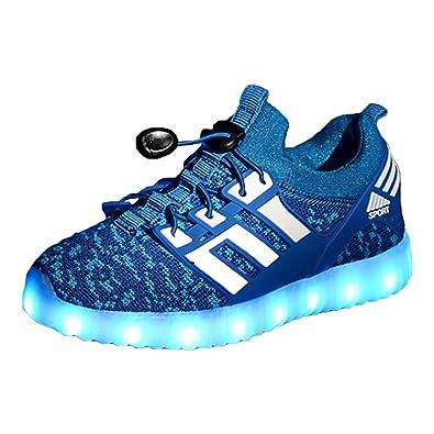 Yeeper LED Leuchtende Bunte Sneaker Turnschuhe Unisex Kinder Jungen Mädchen USB Auflade Sportschuhe Leichte Schuhe 1832