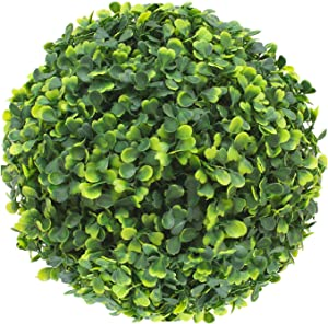 SunnyRoyal 8 Inch Artificial Boxwood Ball Topiary Lifelike Plants Half Round Topiary for Home Garden, Front Patio, Planter, Deck, Backyard Indoor/Outdoor Decore, Sempreverde Green, 1 Piece