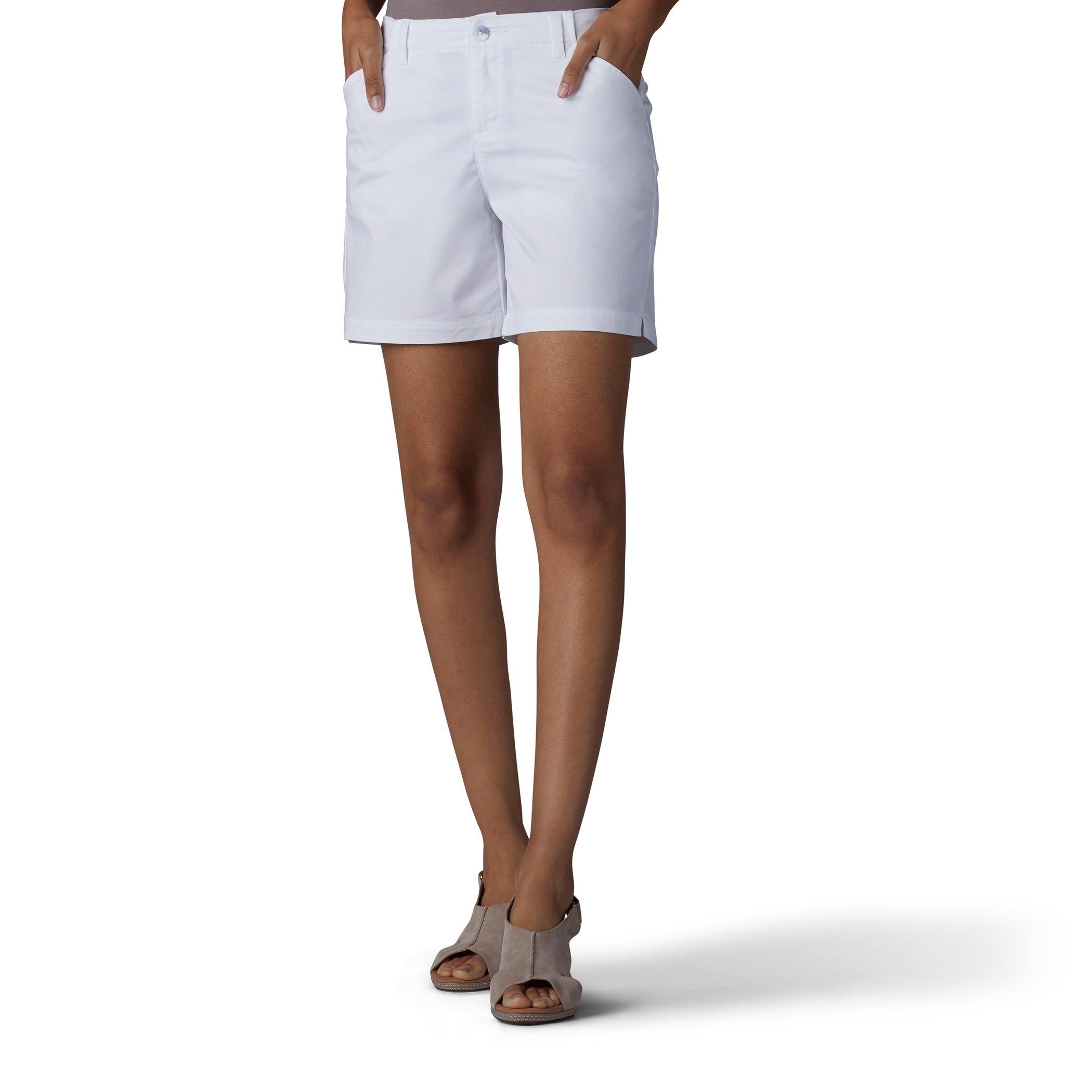 LEE Women's Straight Fit Tailored Chino Short, White, 12