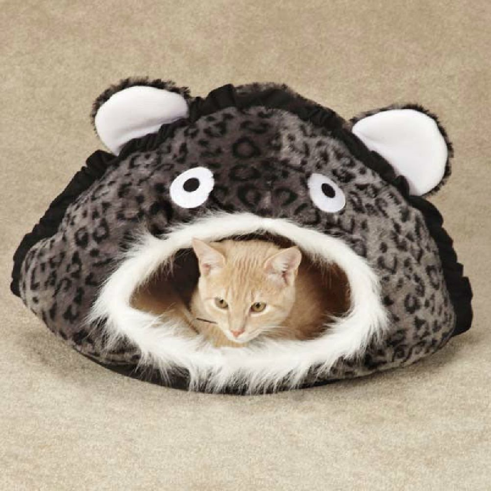 Leopard Print Jungle Cat Cave Beds With Dangling Toy Warm & Comfy