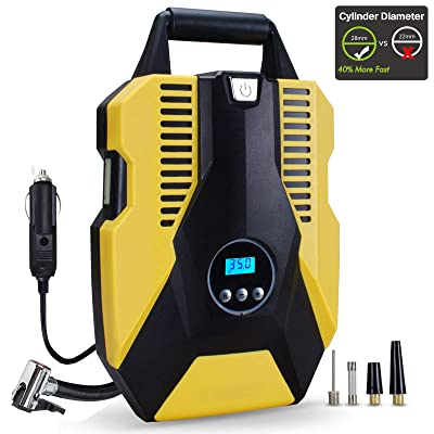 Perizons Digital Tire Inflator with 12VDC 150PSI Tire Pump,Portable Air Compressor,40% Faster on Inflating, 28mm Larger on Cylinder Than Other Brand which 22mm in Plastic Housing Inflator: Automotive