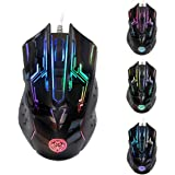 Amoky Gaming Mouse Wired LED Optical 4800 DPI 6 Buttons Ergonomic Professional for PC Laptop Desktop and Mac Black