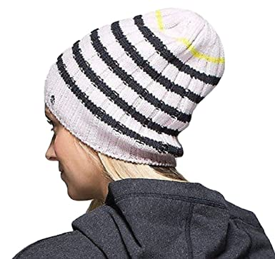 Lululemon Blissed Out Toque Wool Ski Hat Heathered Blush Pink Black Stripe 21c32e929f3
