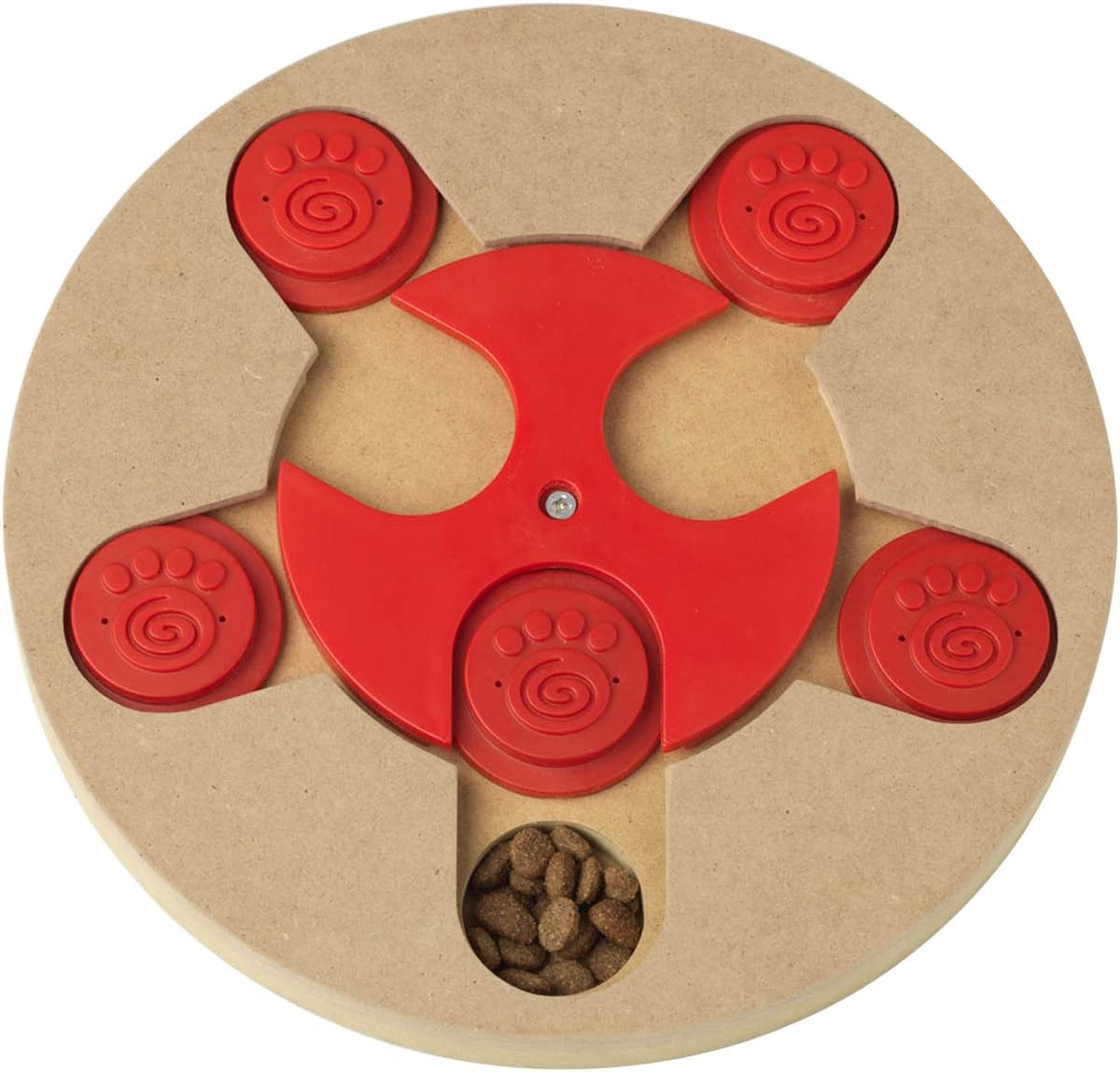 PetRageous 13006 Thinkrageous Interactive Advanced Level Puzzle Piece Pet Toy Measures 9.84-Inch for Dogs and Cats and Ages, Red