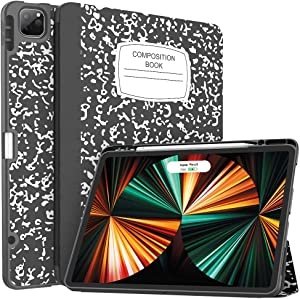 Soke New iPad Pro 12.9 Case 2021 with Pencil Holder - [Full Body Protection + 2nd Gen Apple Pencil Charging + Auto Wake/Sleep], Soft TPU Back Cover for 2021 iPad Pro 12.9 inch(Book Black)
