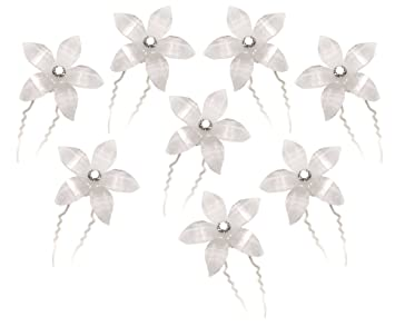 Amazon White Flower Hair Pins With Rhinestone Crystal For