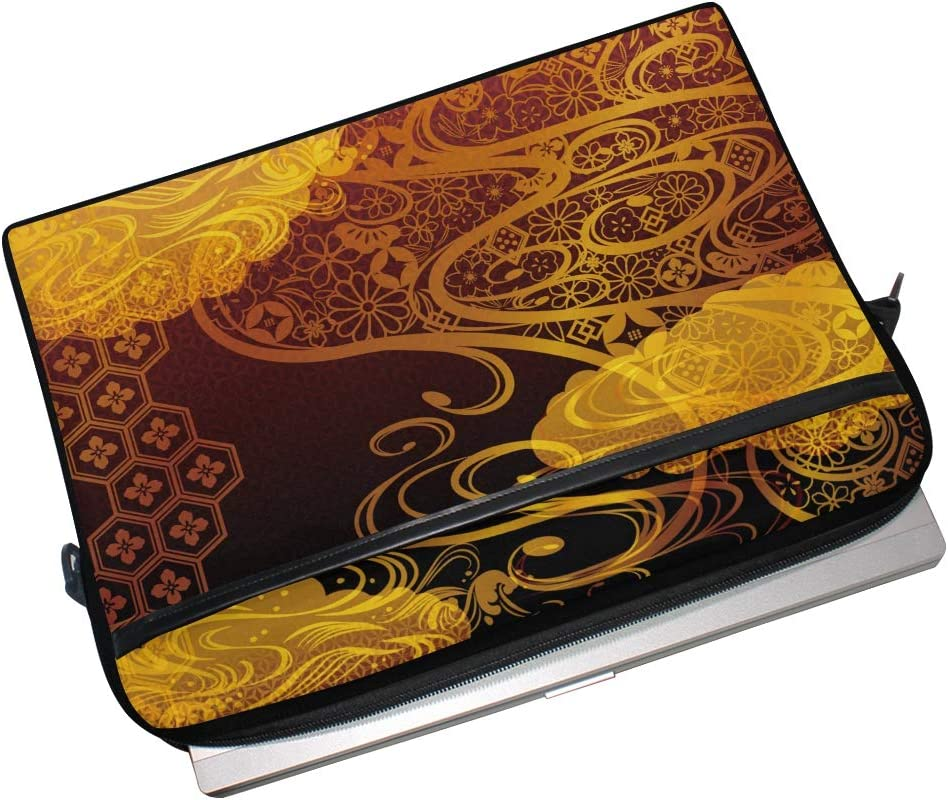 HELVOON Japanese Sea Golden Pattern Laptop Shoulder Messenger Bag Computer Briefcase Business Notebook Sleeve Cover Carrying Handle Bag for 14 inch to 15.4 inch
