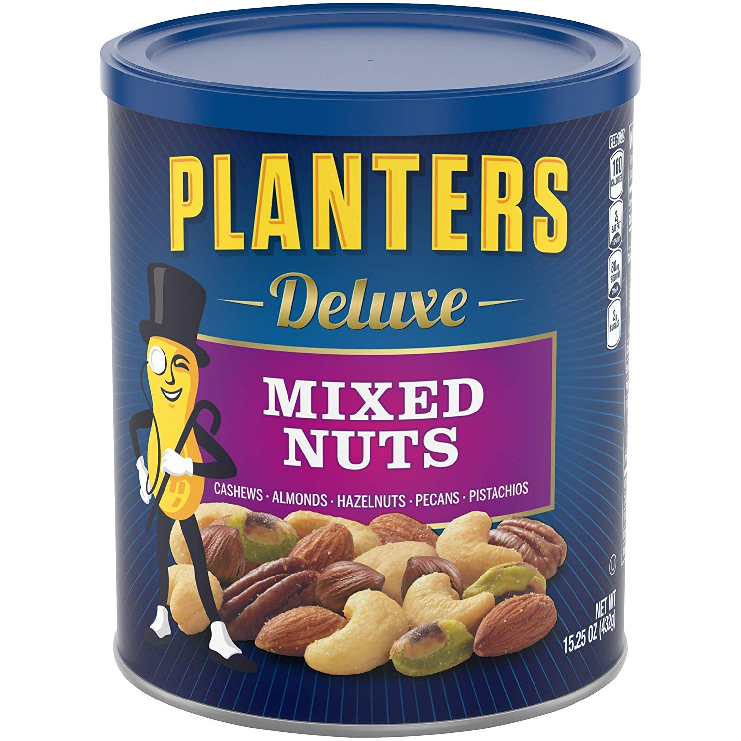 Planters FHDJV Deluxe Mixed Nuts, 15.25 oz Canister, 4 Pack