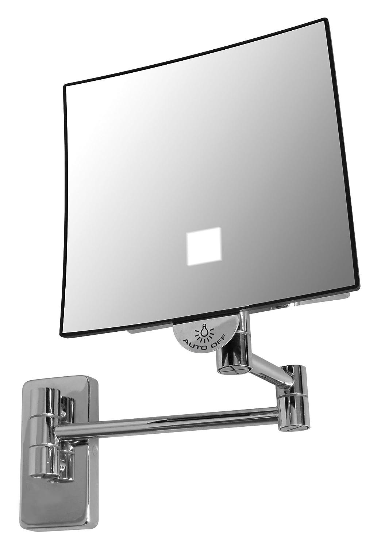 Jvd Miroir Carré Grossissant X 3 - Bras Laiton - LED Lumineux - Sans Raccordement Électrique Qualite Hotel