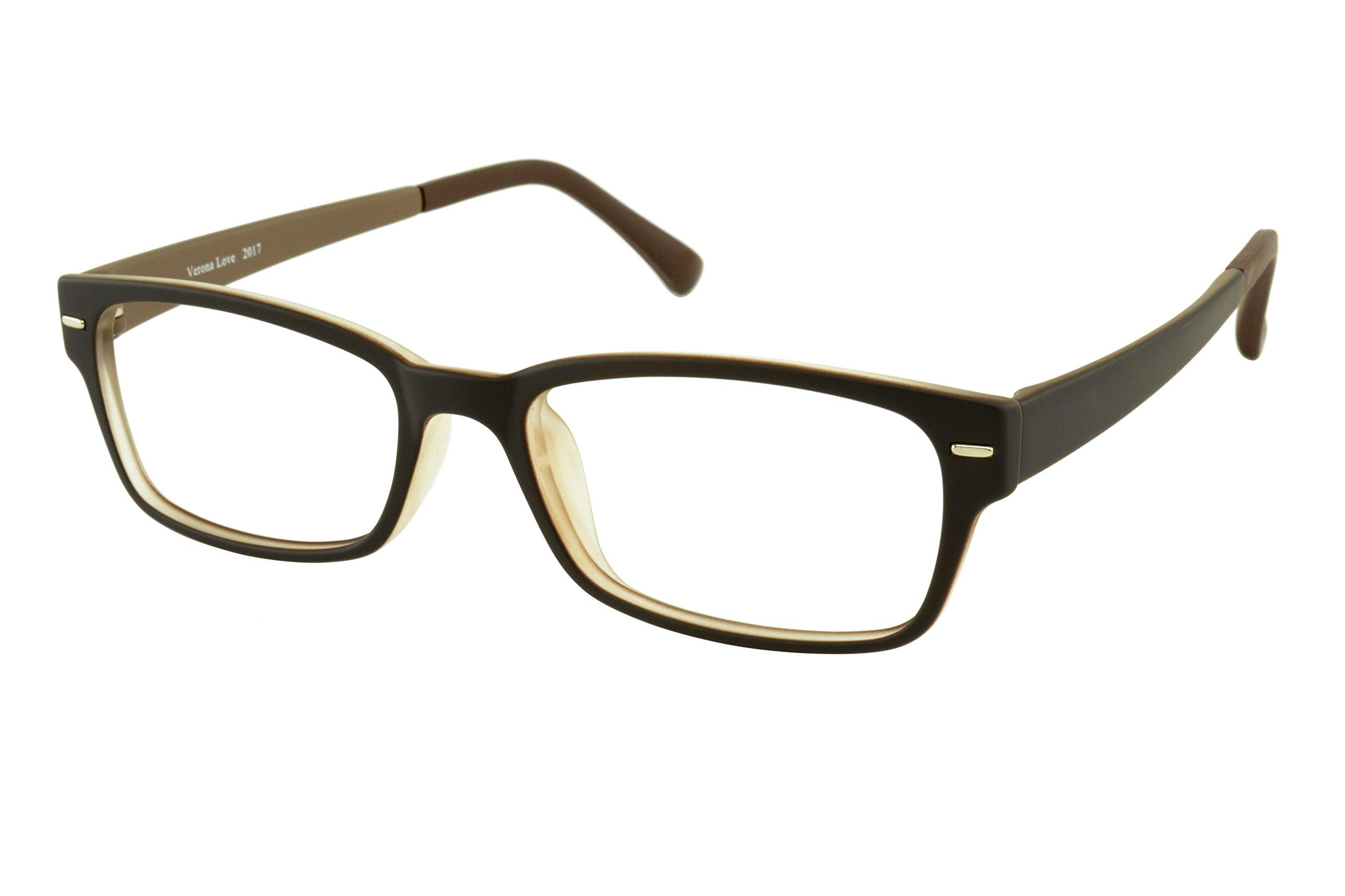 Verona Love Computer Glasses Vintage Style w/Blue Light Blocking Lenses For Gaming Reading Blue Screen Filter and Blocker Glasses (Brown&Black)