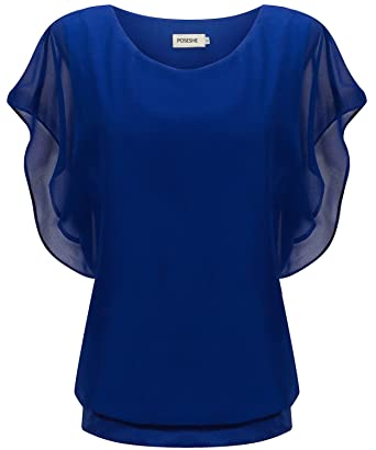 41b077517201e POSESHE Women s Loose Casual Short Sleeve Chiffon Top T-Shirt Blouse ...