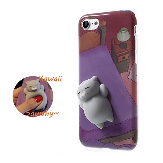 sale retailer 47ac8 e91fd Squishy Cat Phone Case for iPhone 6 Kawaii Cute Soft Silicon TPU Shell  Squeeze Squishies Slow Rising Jumbo Fidget Toy Stress Relieve