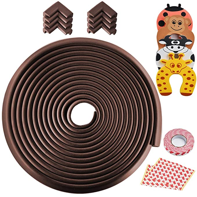 Chocolate EDK Glass Table Corner Protector Protecci/ón Esencial para Esquinas Gruesas Safety Edge Corner Guards 10Pcs