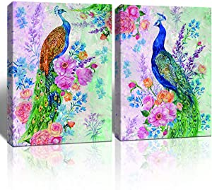 A Cup of Tea Animal Artwork Gorgeous Teal Green and Pink Purple Watercolor Style Two Peacocks Picture Canvas Prints Modern Wall Art Living Room Decoration Framed Ready to Hang 12x16 Inches 2 Panels