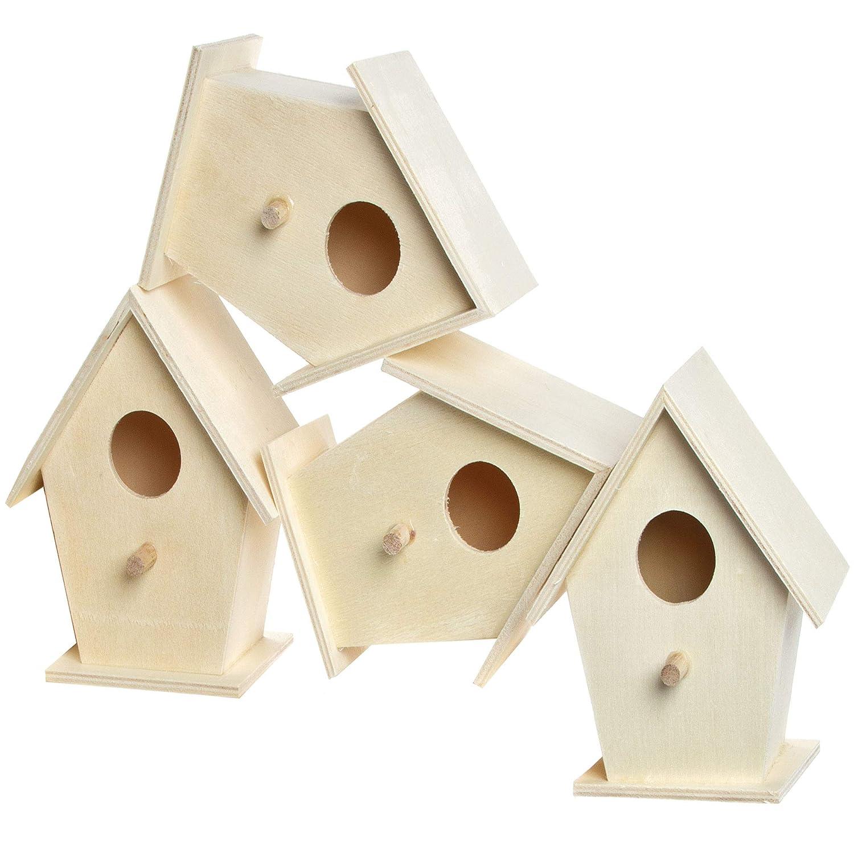 Baker Ross Casitas de madera para pájaros (Paquete de 4) Para pintar y decorar con niños