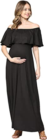 DESIGNER Maxi Maternity Dress Jewel Shoulder Strap Black Rock A Bye Rosie