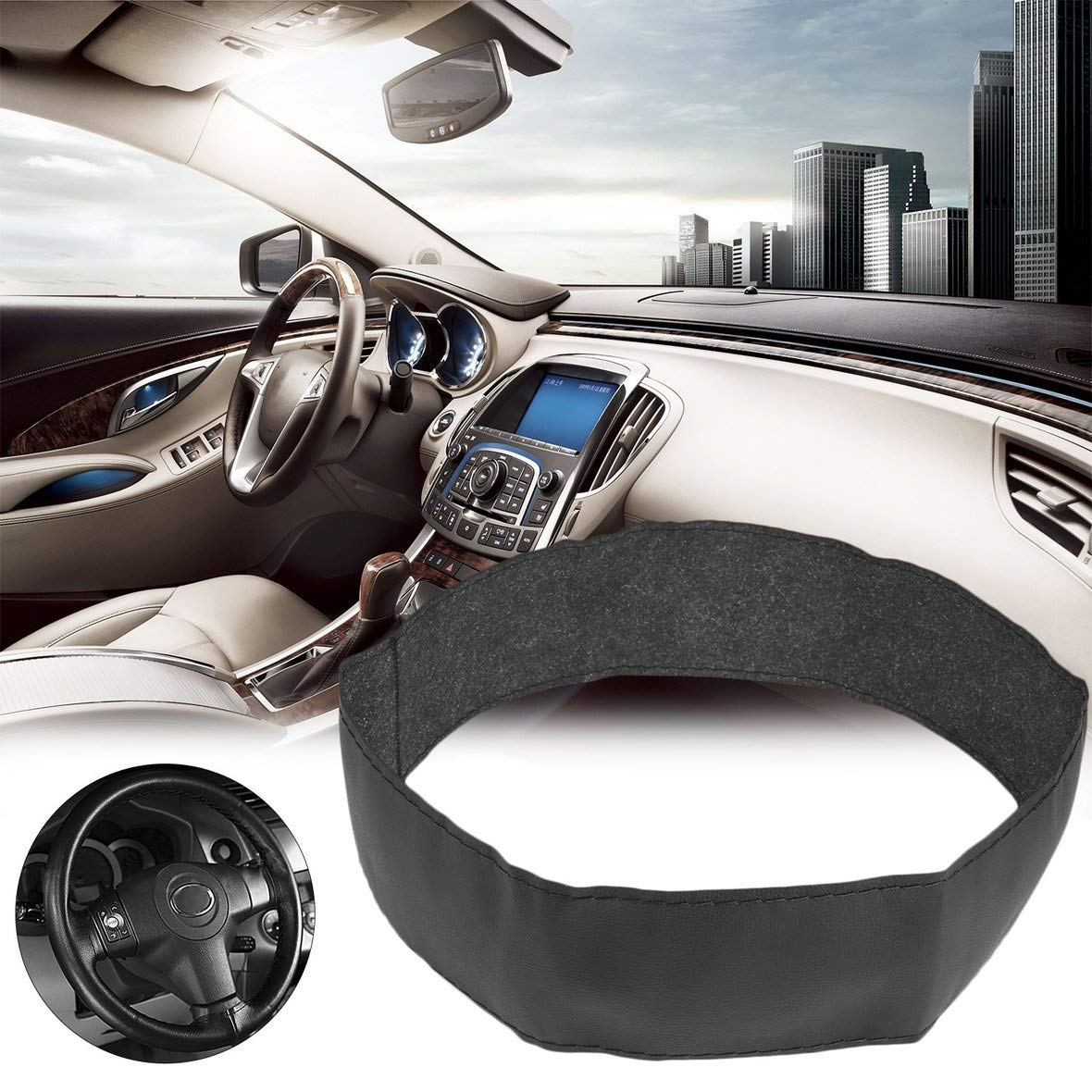 Tivolii Steering Wheel Cover Case Universal DIY Car Auto Vehicles Super Fiber Leather Steering Wheel Cover Case with Needle and Thread Black