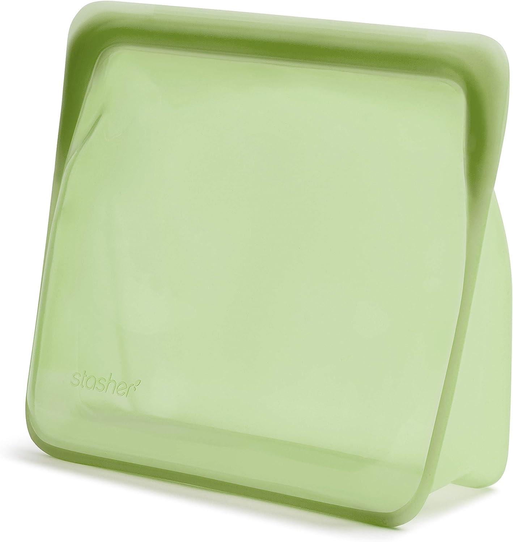 Stasher Platinum Silicone Food Grade Reusable Storage Bag, Green (Stand-Up Mega) | Reduce Single-Use Plastic | Cook, Store, Sous Vide, or Freeze | Leakproof, Dishwasher-Safe, Eco-friendly | 104 Oz