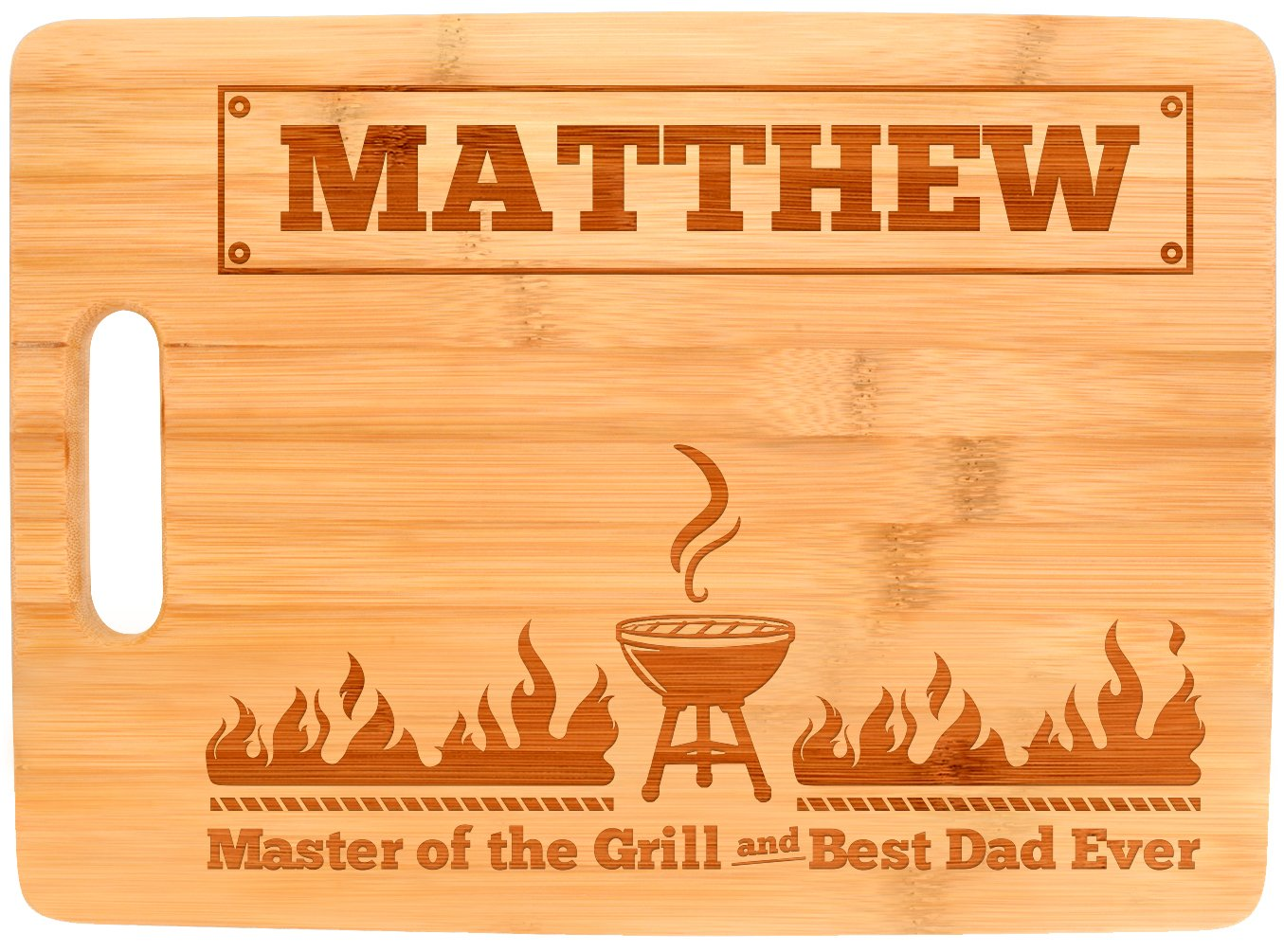 Personalized Grill Gifts Custom Name Master of the Grill and Best Dad Ever Personalized Fathers Day Gifts from Daughter Father Son Gifts Dad Grill Big Rectangle Bamboo Personalized Cutting Board by Personalized Gifts (Image #2)