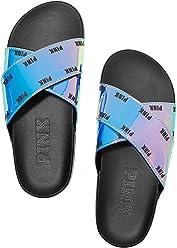 Victorias Secret Pink Crisscross Slides Sandals