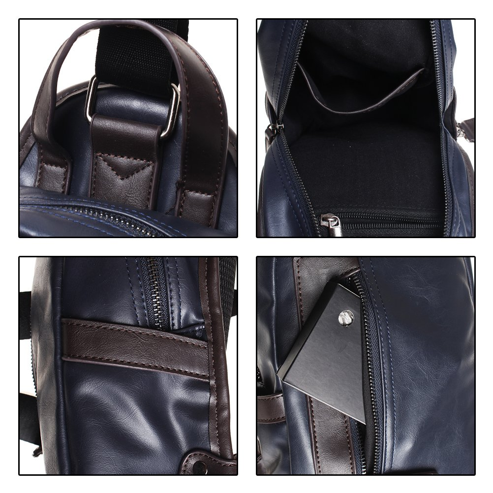 The Seventh Leather Sling Bag, Vintage Chest Shoulder Backpack Sling Satchel Bag for Hiking Camping Travel Outdoors for men