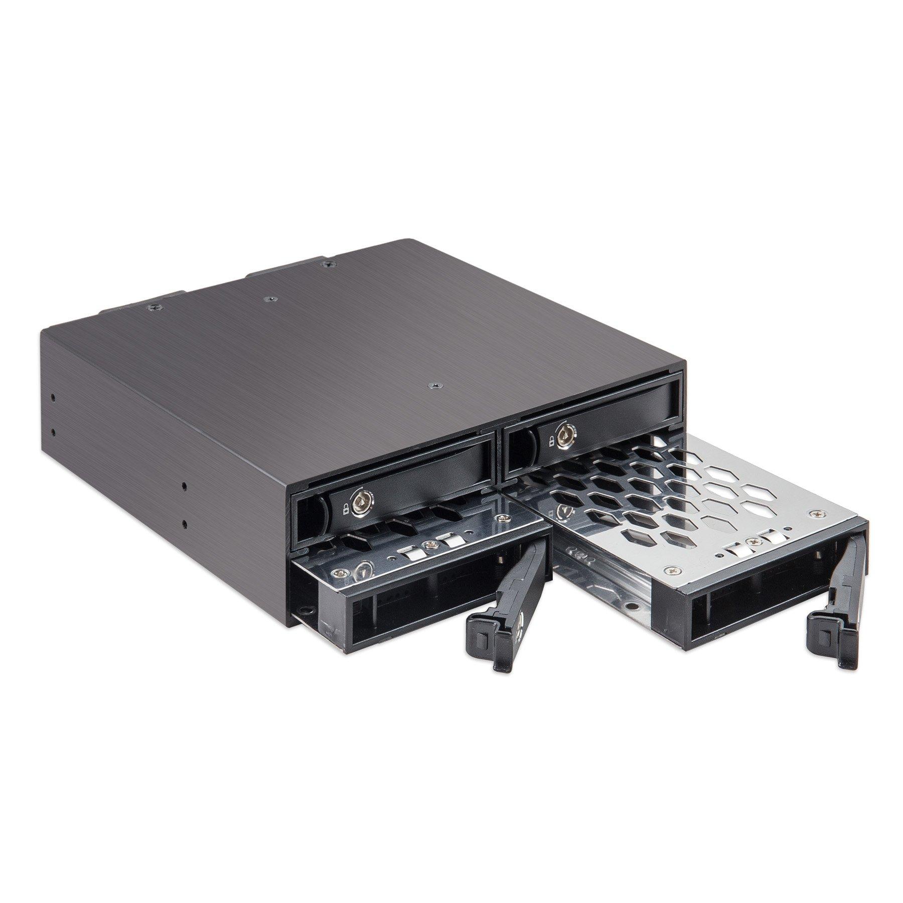 "Syba SY-MRA25038 4 Bay 2.5"" SATA Drive Mobile Rack Mount for 5.25'' Drive Bay"