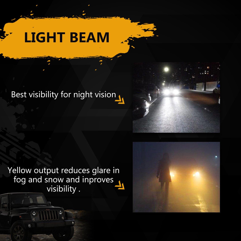 7 Dual Color Led Headlights For Jeep Wrangler Jk White Wiring Harness On 84 Cj7 4 2l Amber Fog Snow Rain Weather Automotive
