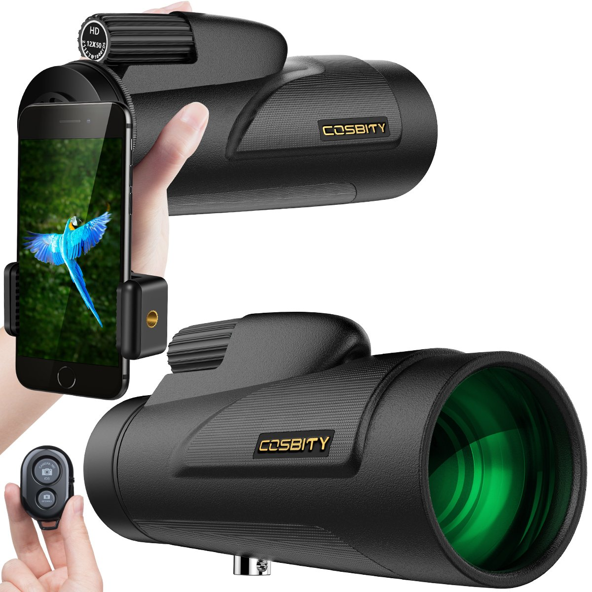 Monocular Telescopes, 12x50 Low Night Vision Spotting Scope for Adults with Cell Phone Photography Adapter and Wireless Camera Shutter Remote Control for Bird Watching/Hunting/Camping/Travelling COSBITY N/A