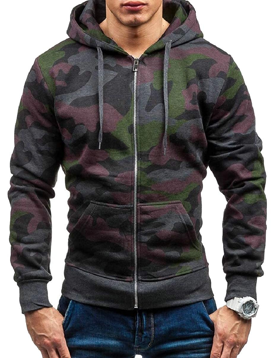 CBTLVSN Mens Slim Fit Camouflage Active Hoodies Running Workout Sweatshirt Jackets