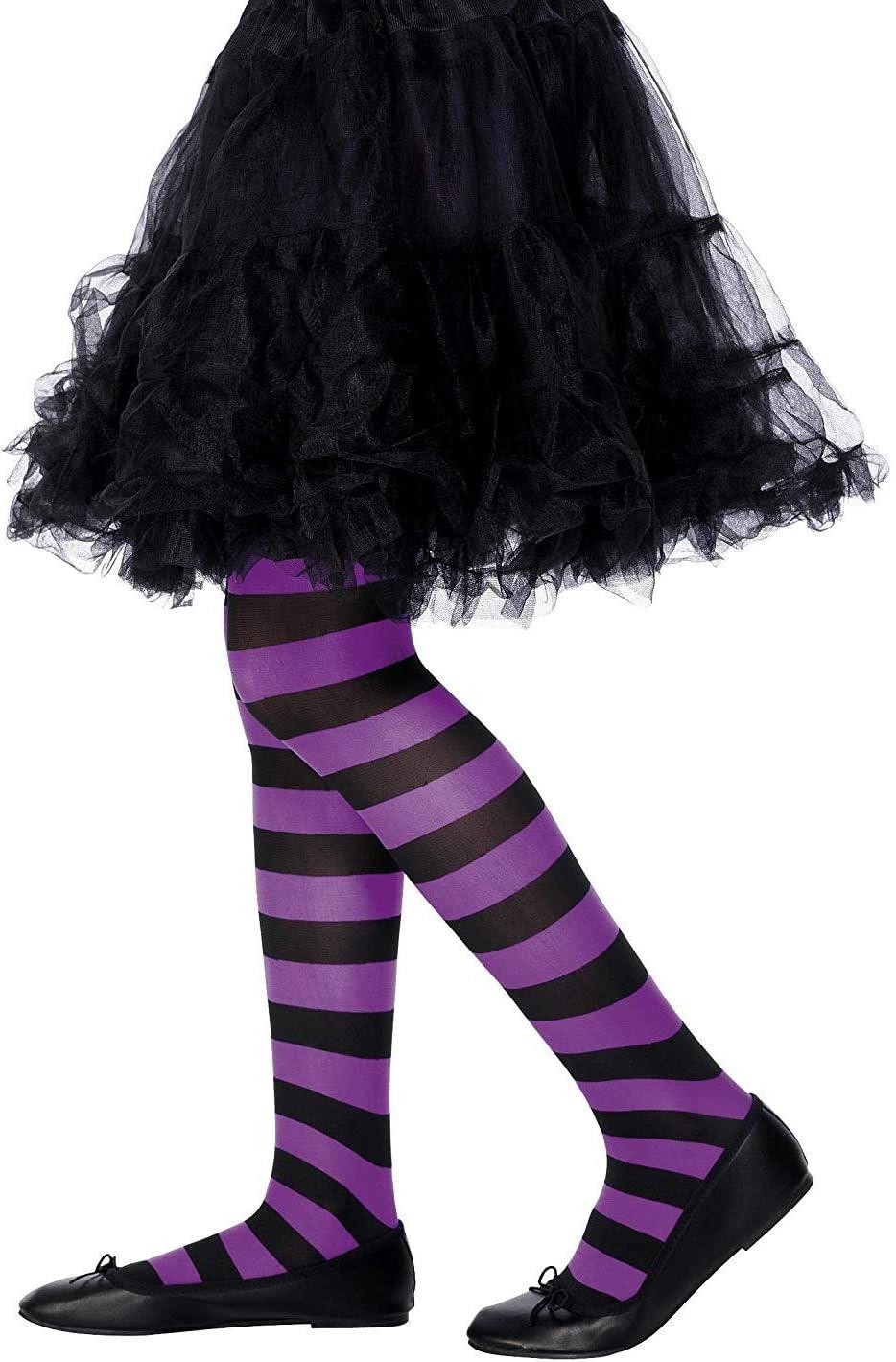 Smiffy'S 22081 Pantimedias, Púrpura / Negro, M A L - Edad 8-12 Años