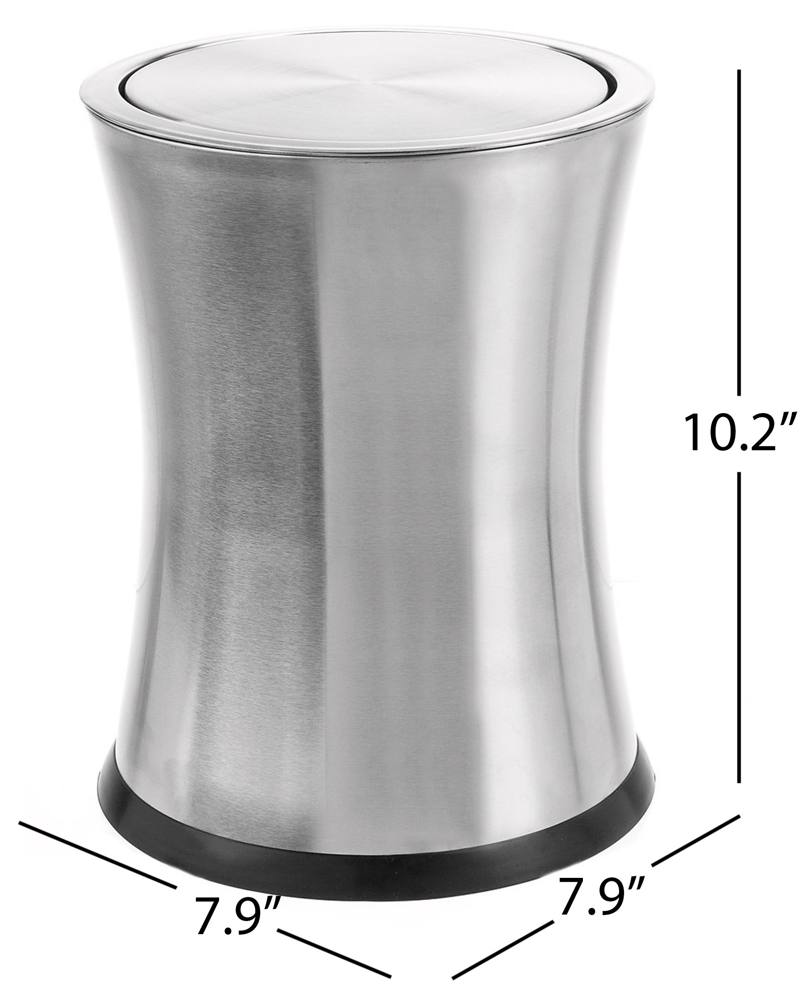 Bennett ''Swivel-A-Lid'' Small Trash Can, Stainless Steel Attractive 'Center-Inset' Designed Wastebasket, Modern Home Décor, Round Shape (Silver)