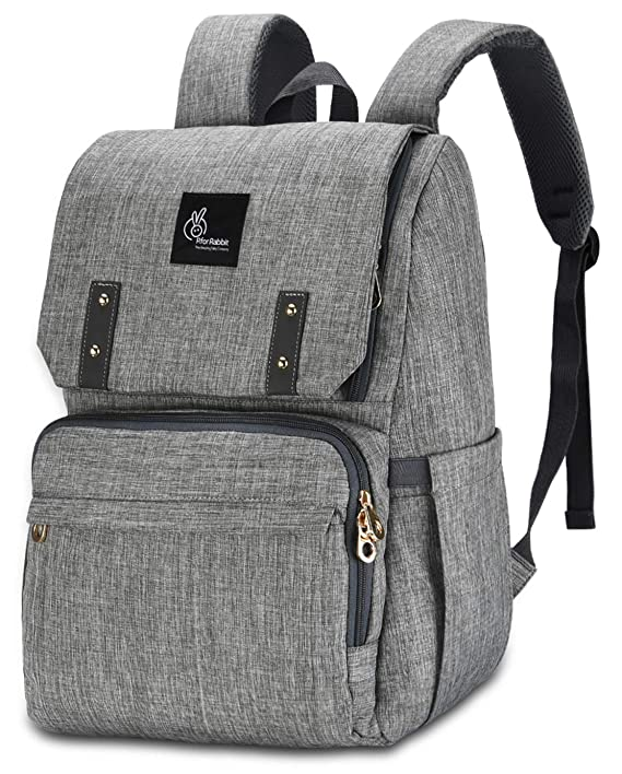 R for Rabbit Caramello Grand Diaper Bags Backpack for Mothers/Mom for Travel Large Capacity, Smart Waterproof,Durable and Stylish (Grey)