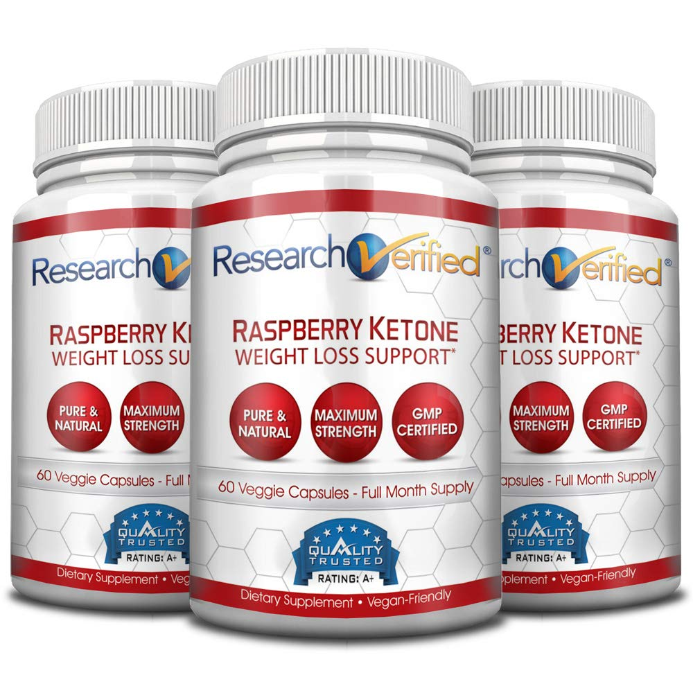 Research Verified Raspberry Ketones -100% Pure Natural Raspberry Ketones -1000mg/day for Fast and Easy Weight Loss - 365 Day 100% Money Back Guarantee - 180 Capsules (Three Month Supply) by Research Verified