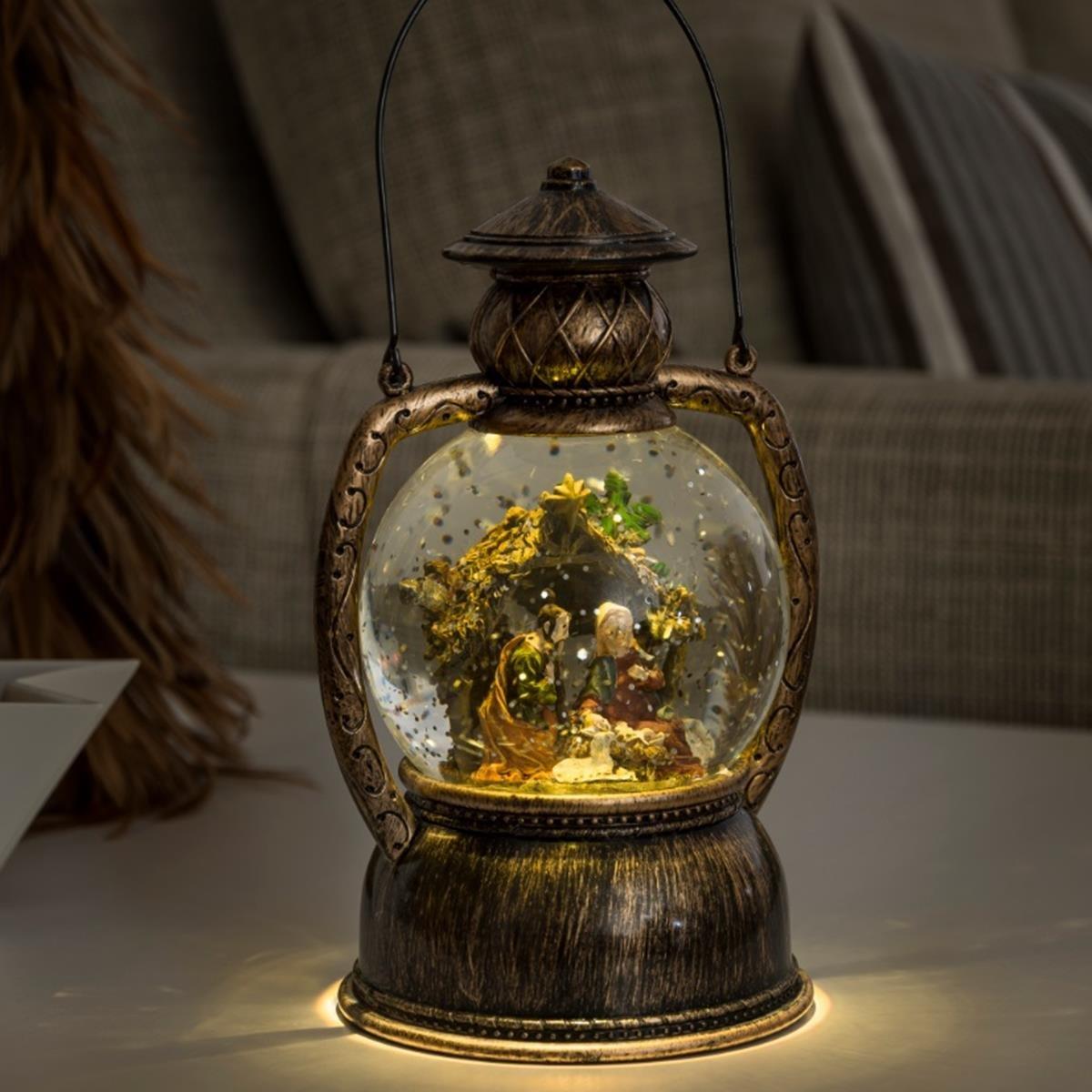 LED Christmas Lantern with Nativity Scene Water Globe Direct Global Trading