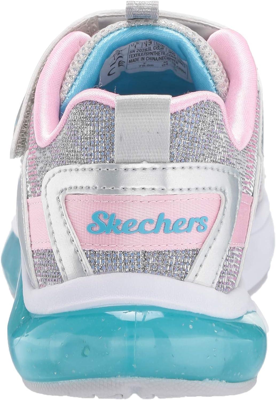 Skechers Move 'N Groove Sparkle Spinner, Baskets Fille Led Rose Argentée