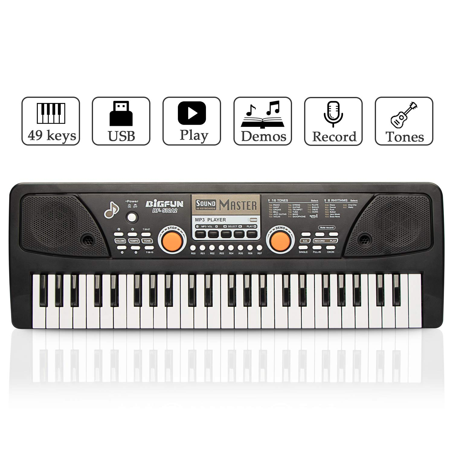 Keyboard Piano, JINRUCHE 49 Keys Multi-function Kids Electronic Piano Educational for Student Kids Children with Microphone (Black)