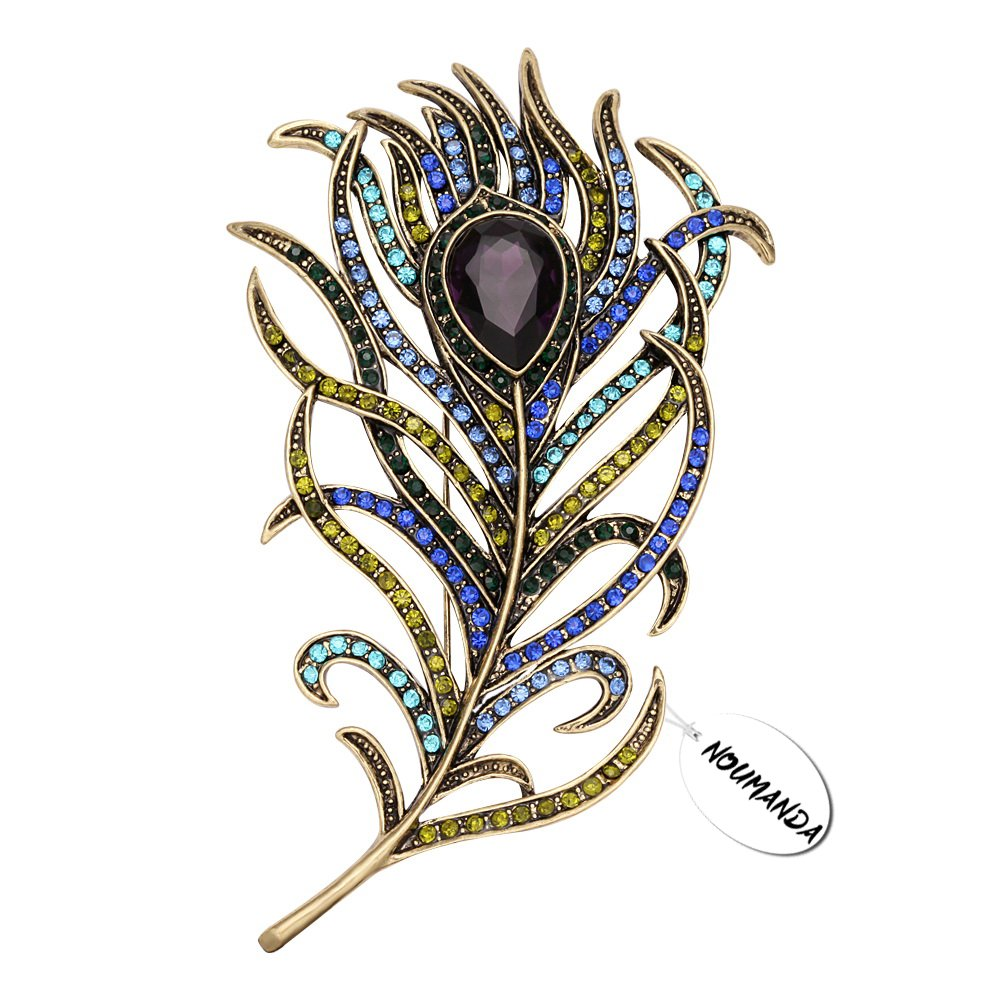 NOUMANDA Vintage Large Rhinestone Peacock Feather Brooch Pin for Women Crystal Jewelery Gift (Feather)